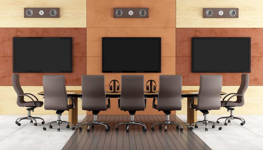 Contemporary conference room with meeting table,chair and led monitor on wall - rendering